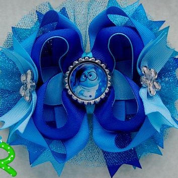 sadness hair bow ,Inside out  Boutique hair bow , lyered bow , stacked bow , inside out ott bow