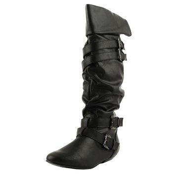 Women's Black Knee High Flat Slouchy Boots w/ Buckles