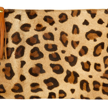 Beige and Tan Spotty Hide Clutch Large