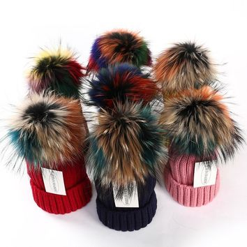 15cm Winter Real Fox Fur Pompoms Hat