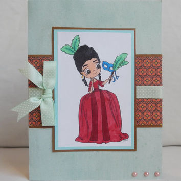 Masquerade Card, Paper Handmade Greeting Card, Masks, Pearls, Ribbon and Bow, Turquoise and Red