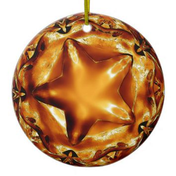 Elegant Chic Copper Gold Christmas Star Ceramic Ornament