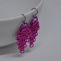 Fuchsia Earrings,  Purple Earrings,  Chainmaille Earrings, Niobium Earwires,  Teardrop Earrings,  Chainmaille Jewelry