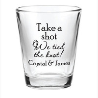 144 Custom 1.5oz Wedding Favor Glass Shot Glasses Personalized NEW 2015 Wedding Favors