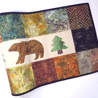 """Table Runner - 14"""" x 53"""" - Batik Squares & Bears - Elegant table topper, table decoration, home decoration - Great for cabin or retreat"""