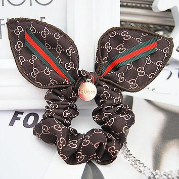 GUCCI Simple Rabbit Ears Hair Rope Red And Green Bow Hair Headband Hair