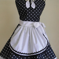 French Maid Apron Pin-up Retro Style Black and White Polka Dots Flirty Skirt Sweetheart Neckline