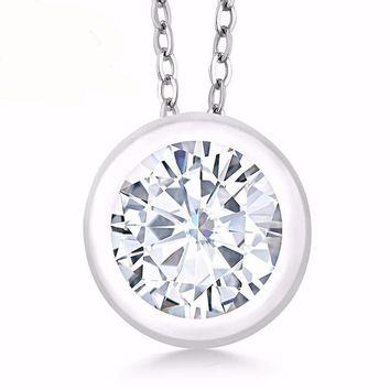 0.68 Ct Round White Moissanite 925 Sterling Silver Pendant With Chain