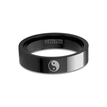 Chinese Yin Yang Symbol Engraved Black Tungsten Wedding Ring