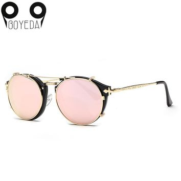 BOYEDA 2017 New Fashion Retro Double Flip Steampunk Sunglasses for Women Clip On Sunglass Vintage Round Unisex Sun Glasses Men