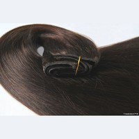 """TRESSMATCH® 16"""" -18"""" Remy Human Hair Clip in Extensions Chocolate/Reddish Brown (#4) 9 Pieces (Pcs) Thick to Ends Full Head Set [4.2oz/120grams]"""