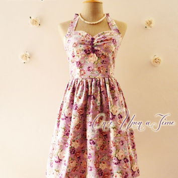 Vintage Inspired Dress Party Dress Floral Bridesmaid Dress Exotic Purple Rose Once Upon A Time -Size XS, S, M, L, CUSTOM-