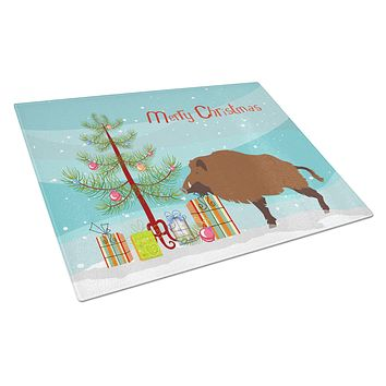 Wild Boar Pig Christmas Glass Cutting Board Large BB9303LCB