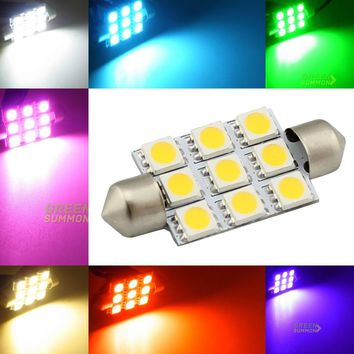 39mm LED 9 5050 SMD light Interior Festoon Dome Bulb Blue Red Yellow Green Warm White pink purpleC5W DC 12V Lamp Lights