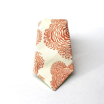 Men's Tie - Poppy Print - Peach & Cream Floral Print