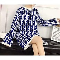 FENDI Newest Trending Women Stylish Full F Letter Long Sleeve Round Collar Knit Dress Blue