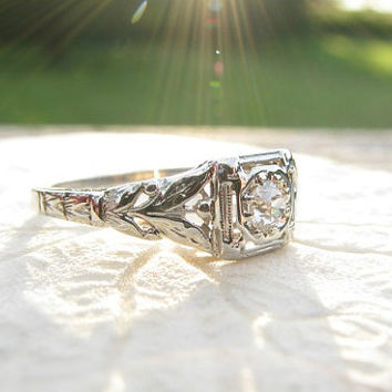 Art Deco Diamond Engagement Ring, Fiery Old European Cut Diamond, Charming Leaf and Flower Bud Design, 18K White Gold, Art Nouveau