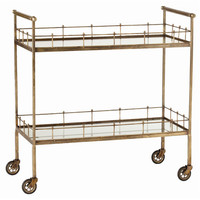 Lisbon Vintage Brass Two Tiered Storage Bar Cart Arteriors Home Bar Carts Bars & Bar Sets