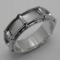 Drum Ring Wedding band for drummers in 14kt white gold from The Jewelry Factory