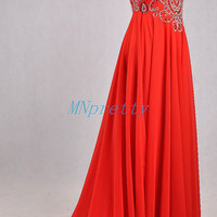 Long Red Backless Prom Dresses,Stunning Crystal Beaded Prom Dresses,Long Chiffon Evening Dresses,Bridesmaid Dresses,Homecoming Dresses