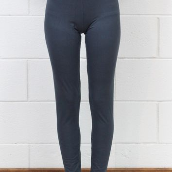 High Waisted Basic Solid Leggings {Charcoal}
