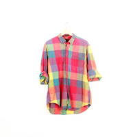 Lived-in Sun Washed Vintage Flannel Shirt |Plaid Grunge| Festival | Boho  | L  Red | Blue | Yellow | Buy 2 Get 1 Free