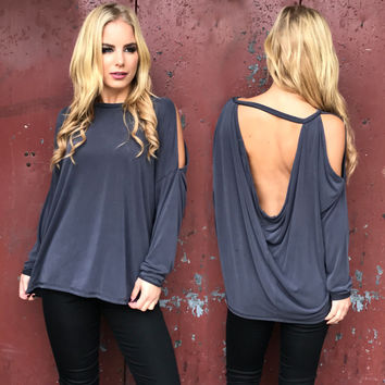 Back In A Big Way Charcoal Grey Top