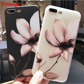 Soft Silicone Matte Floral Phone Case