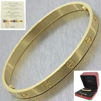 Unworn Cartier 18K Yellow Gold New Style Screw Love Bangle Bracelet Size 17 BP