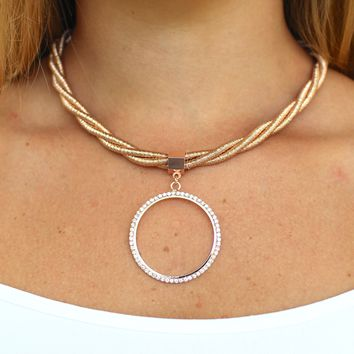 Coil Twist Open Rhinestone Circle Necklace