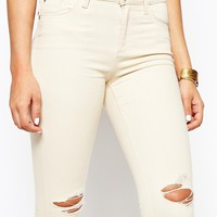 River Island Amelie Ecru Jean with Rips