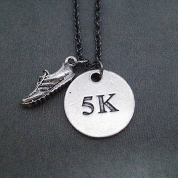 DISTANCE Round Pendant Necklace - Pewter Charm on Gunmetal chain - Choose 5k, 10k, 13.1, 26.2 or XC - Runner Necklace - Running Necklace