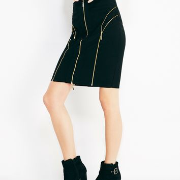 Solid Midi Skirt With Zipper Detail | Wet Seal
