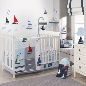 Lambs & Ivy 5 Piece Baby Nursery Crib Bedding Set Regatta with Bumper & Mobile