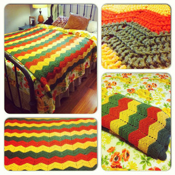 Chevron Afghan Crochet Blanket Crochet Afghan Throw Orange Green Yellow  Throw