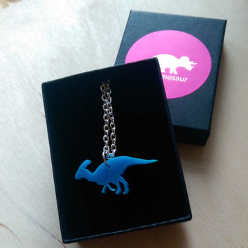 Tiny Parasaurolophus Necklace. Dinosaur Necklace Laser Cut Acrylic / Perspex. Dinosaur Pendant. Gift Ideas For Her. Acrylic Jewellery