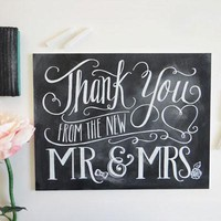 Thank You From The New Mr. & Mrs. - Chalkboard Sign