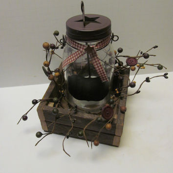 Primitive Centerpiece Primitive Decor Primitive Star Wooden Box Candle Holder Chalk Board Candle Pip Berries Mason Jar Rustic Cabin Decor