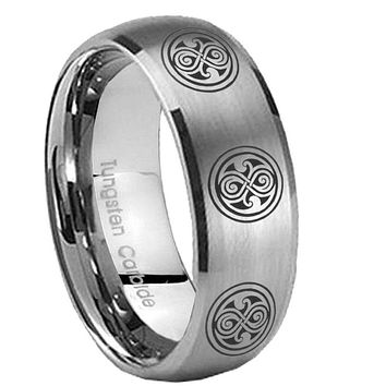 8MM Classic Satin Silver Dome Multiple Doctor Who Tungsten Laser Engraved Ring