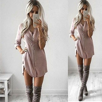 Women Buttons Vneck Sexy Long Shirt Fashion Split Long Sleeved Casual Tops Blouse [8833401996]
