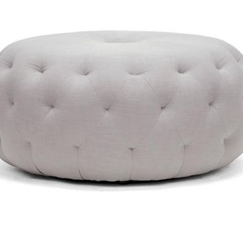 Baxton Studio Glazebrook Beige Linen Modern Tufted Ottoman Set of 1