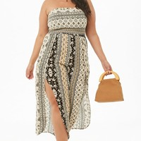 Plus Size Crinkled Ornate Split-Leg Tube Jumpsuit