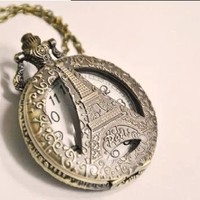 Chopmall(TM) Vintage Bronze Paris Eiffel Tower Shape Pendant Necklace Watch