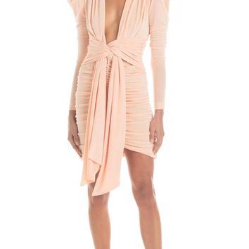 Watch Out Long Sleeve Puff Shoulder Ruched Plunge V Neck Drape Sash Bodycon Mini Dress