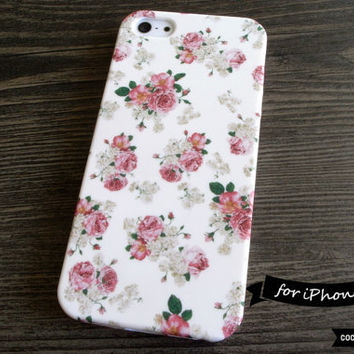 SALE30%OFF: iPhone 5 Case - Retro Floral Print iPhone Case // Rose, Cottage Chic, Flower, Gift for Her, Vintage Style, 1960's, Pink, Pattern