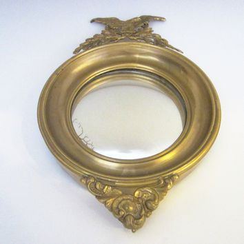 Eagle Crest Convex Ormolu Vintage Mirror Brass Leaves Empire Style