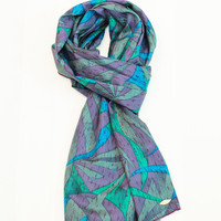 by (Oleel) Scarf Mint Green Violet Long Scarf,Infinity Scarf, Fashion Scarves, Wide Scarf, Silk Scarf, Women's Fashion Accessories, Boho Scarf,