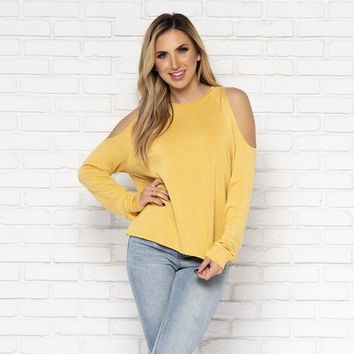 Buttercup Cold Shoulder Sweater Top in Mustard