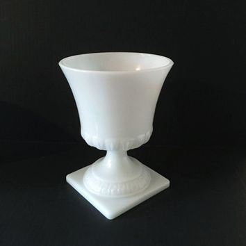 Milk Glass Urn, Vintage Milk Glass Planter, Greek Key Pattern Vase, Centerpiece, Wedding Decor