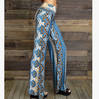 Lotus Leaves Blue Palazzo Pants